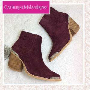 Catherine Malandrino Burgundy Suede Booties